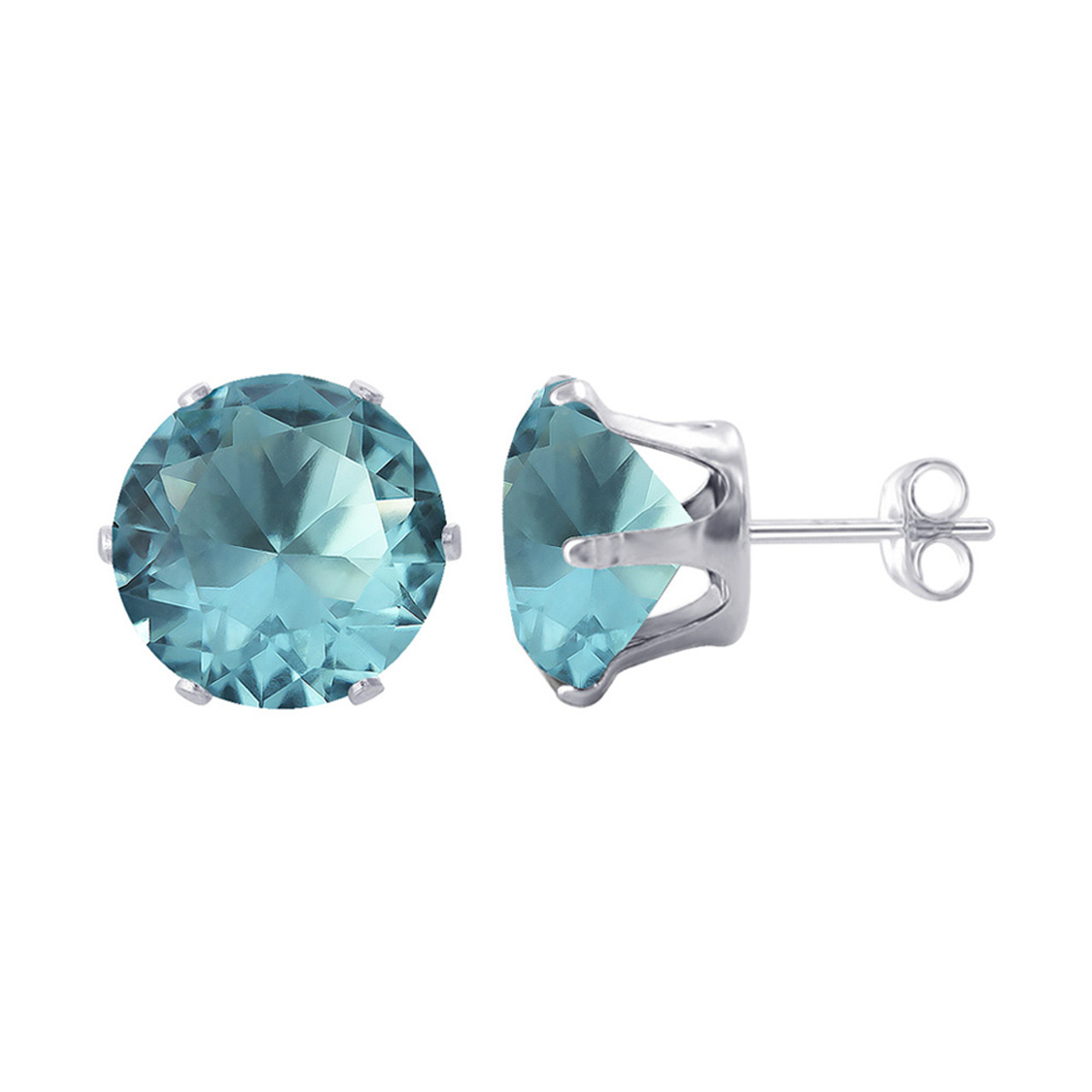 7mm Round Aqua Color Cubic Zirconia Stud Earrings
