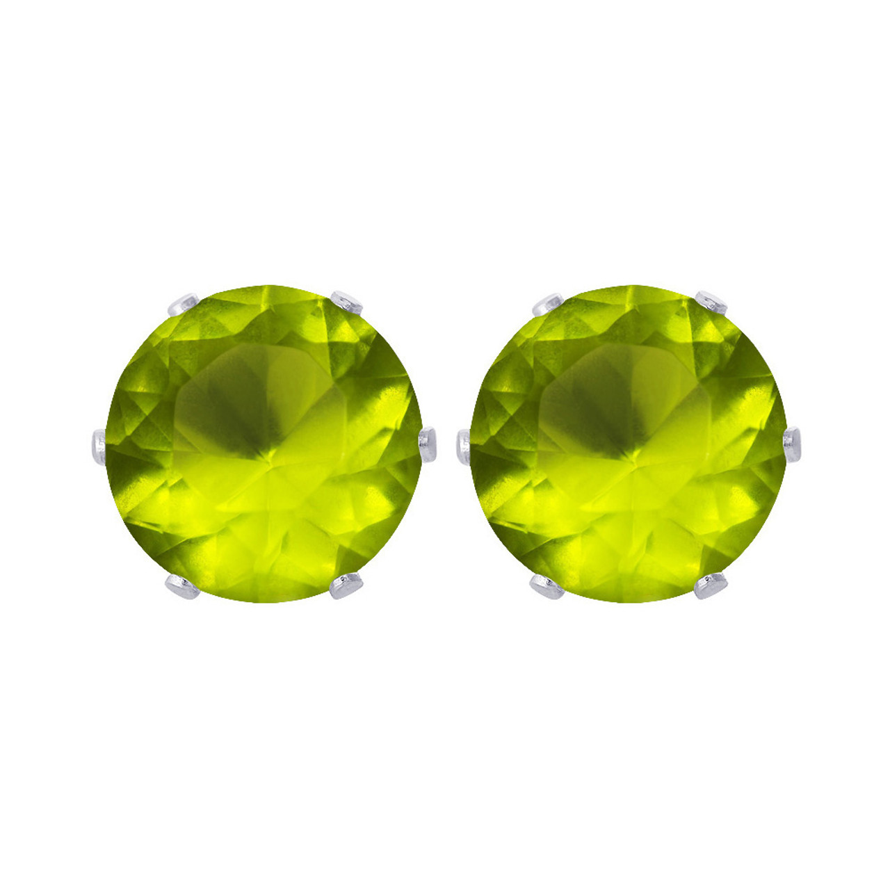 6mm Round Peridot August Birthstone Stud Earrings