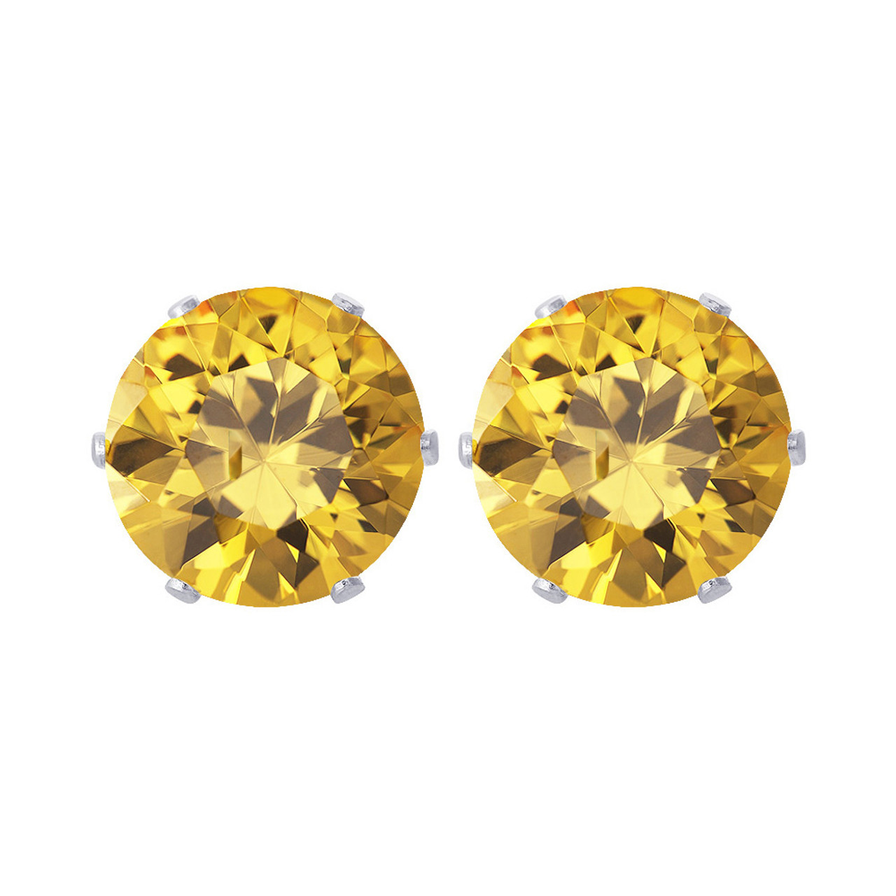 8mm Round Yellow Cubic Zirconia CZ Stud Earrings