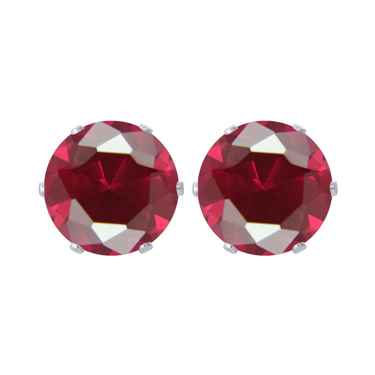 10mm Round Ruby Color CZ Stud Earrings
