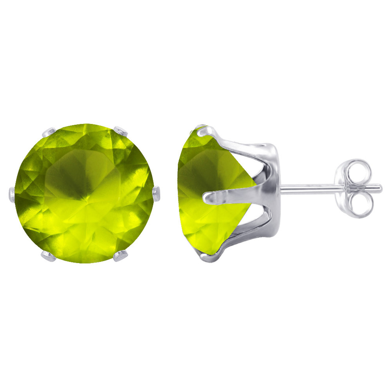 11mm Round Green Cubic Zirconia CZ Stud Earrings