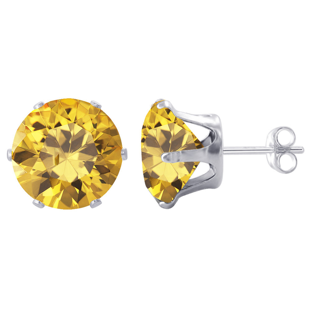 11mm Round Yellow CZ Stud Earrings