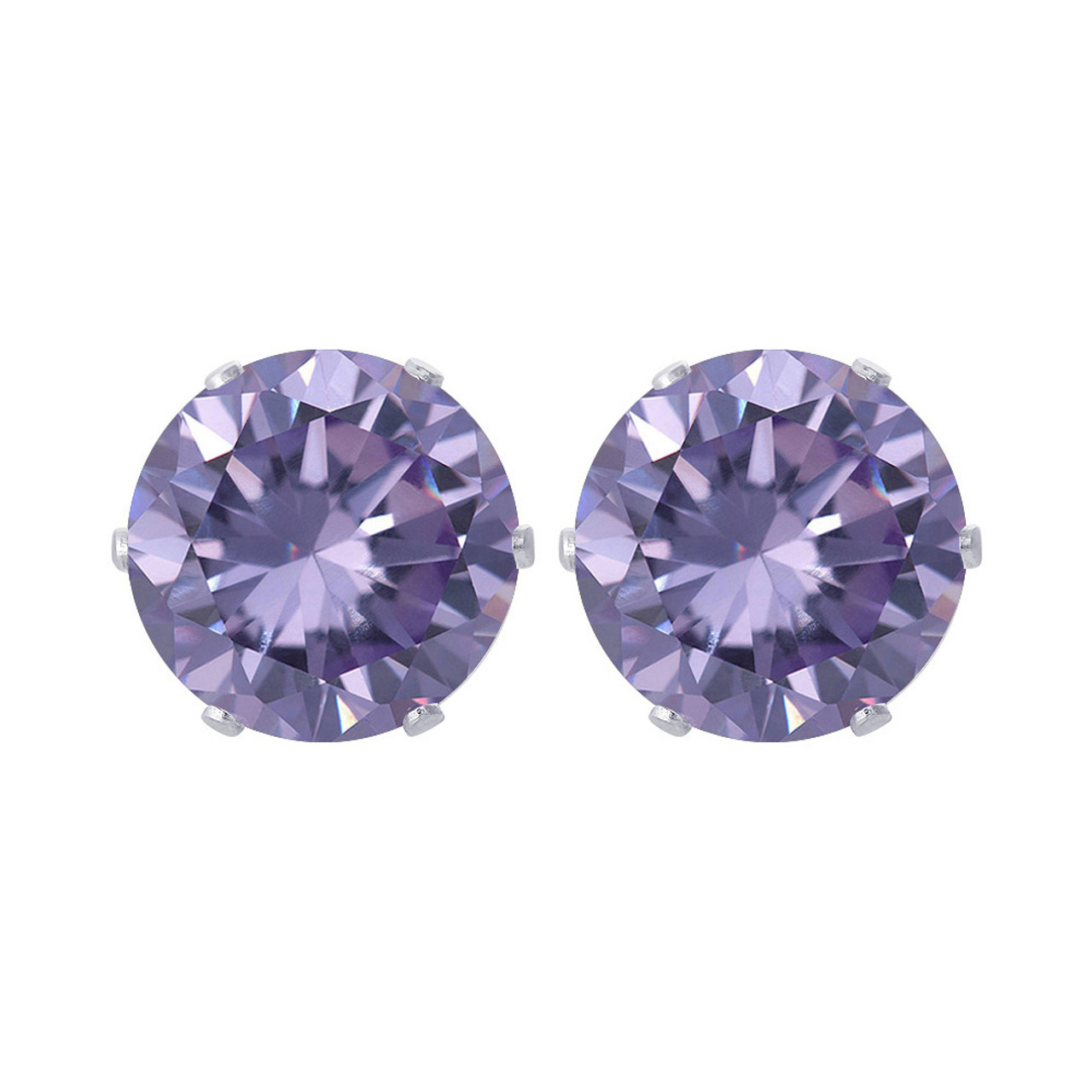 Purple Cubic Zirconia CZ Sterling Silver Stud Earrings