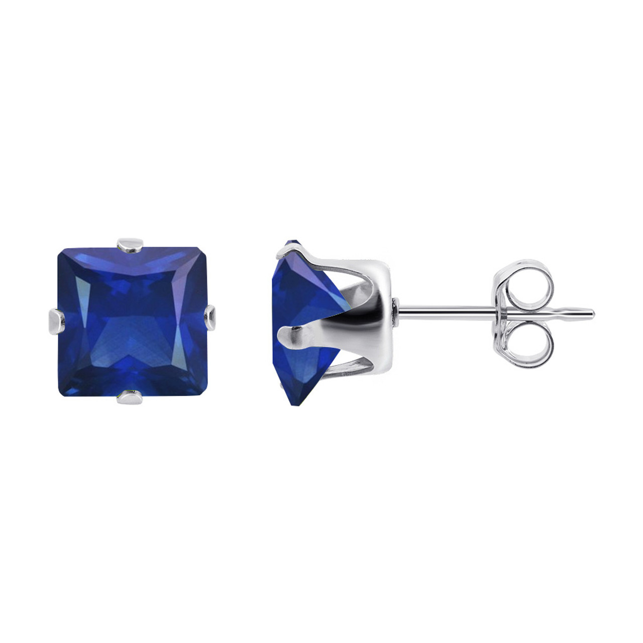 Square Blue Sapphire Color 925 Silver Stud Earrings