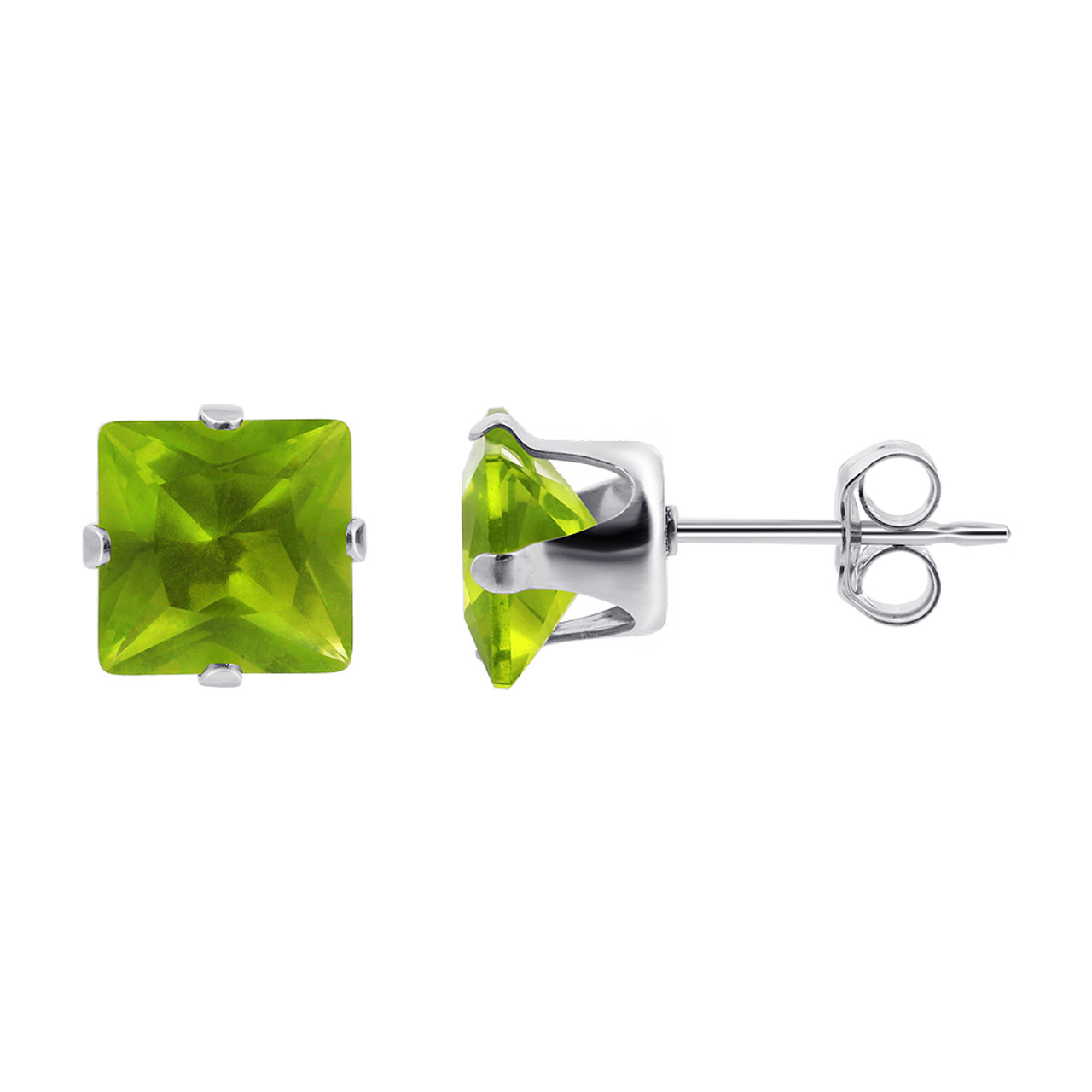 7mm Square Green CZ August Birthstone Sterling silver Stud Earrings