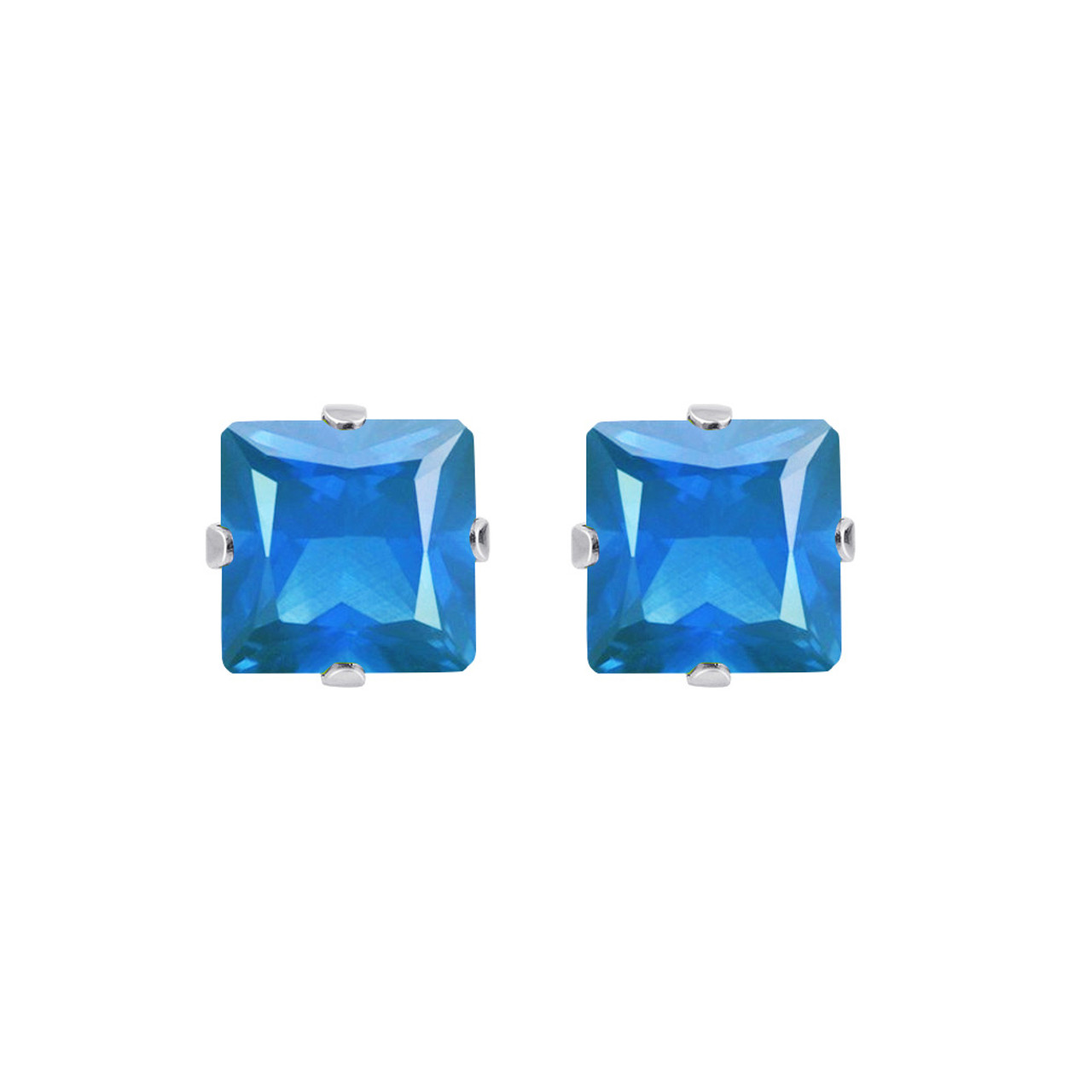 Blue Zircon Color 925 silver Stud Earrings
