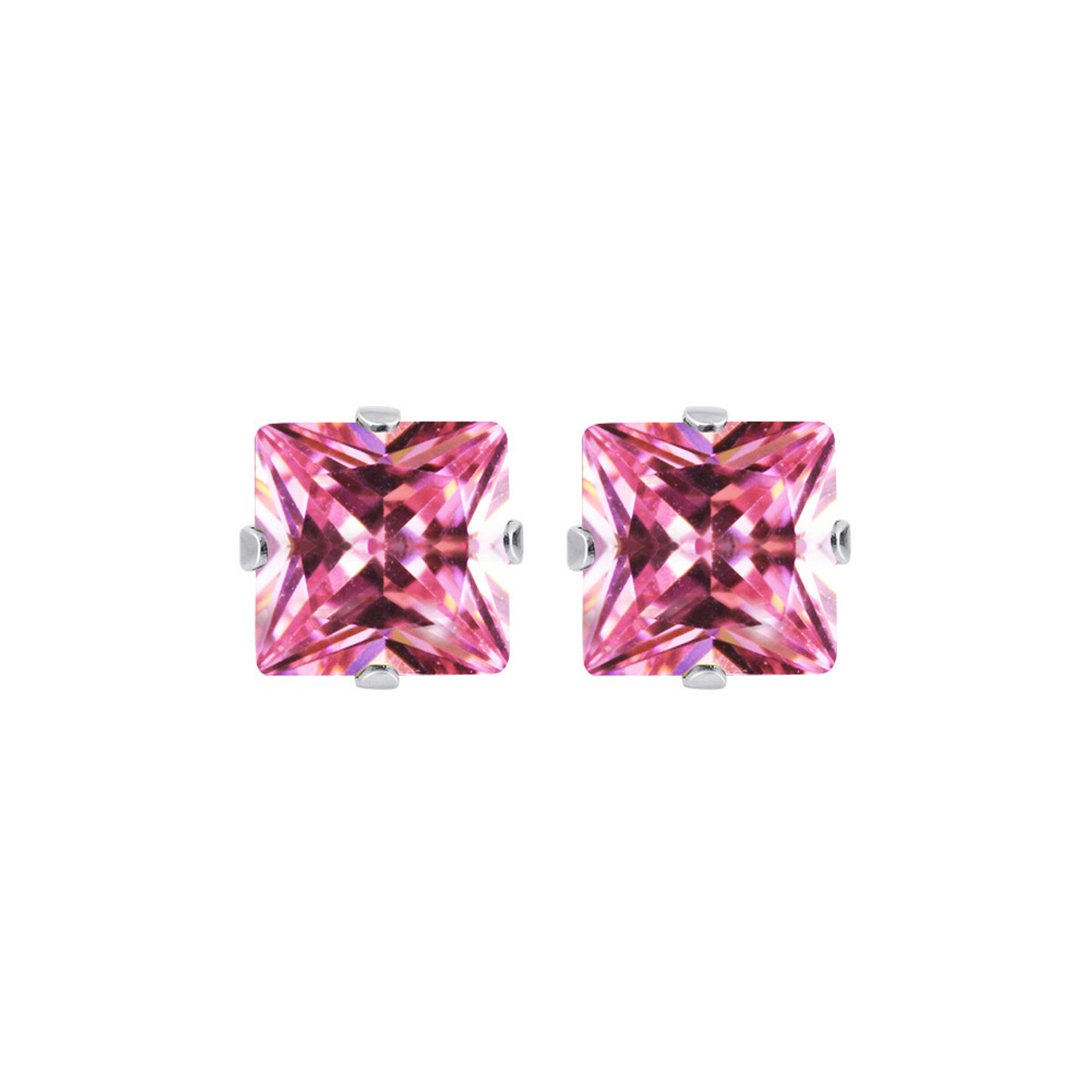 7mm Square Pink Cubic Zirconia CZ Sterling Silver Stud Earrings