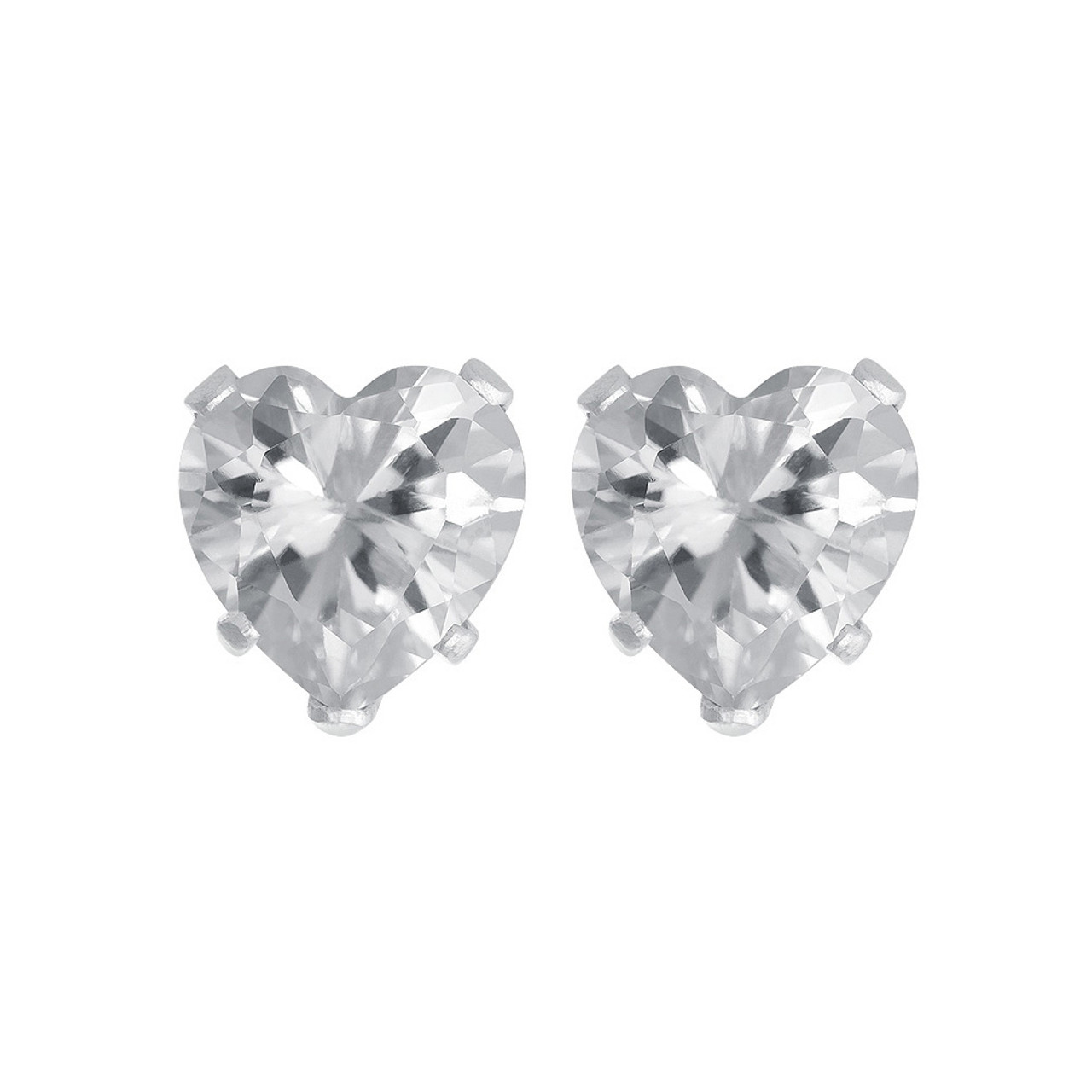 Sterling silver Clear Color CZ Stud Earrings