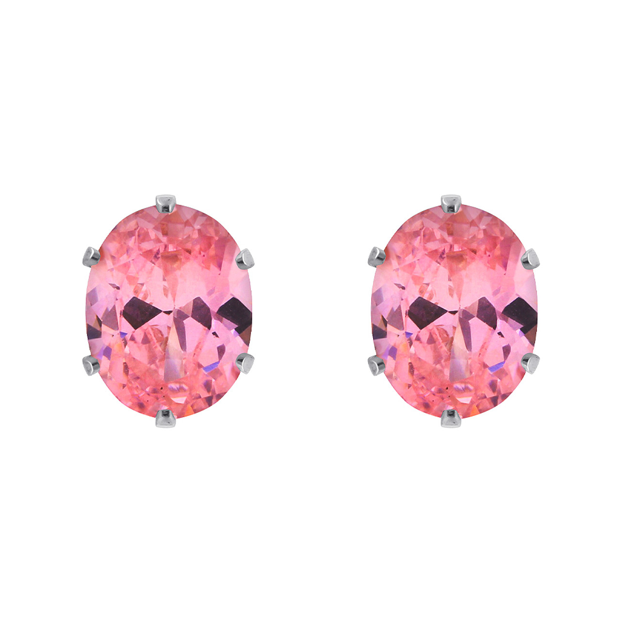 Pink CZ Cubic Zirconia 925 Silver Stud Earrings
