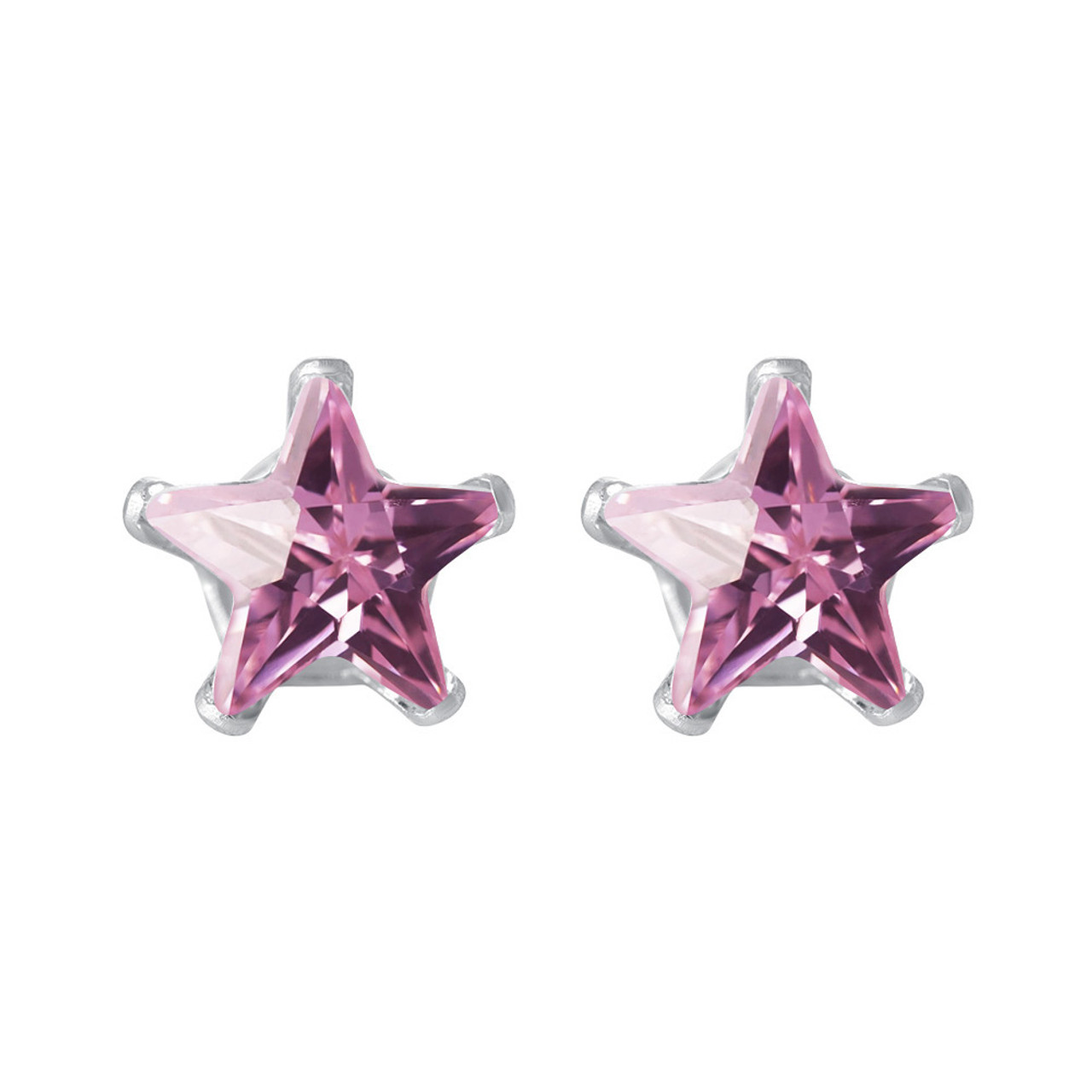 5mm Star Shape Pink Cubic Zirconia CZ Post Back Sterling Silver Stud Earrings