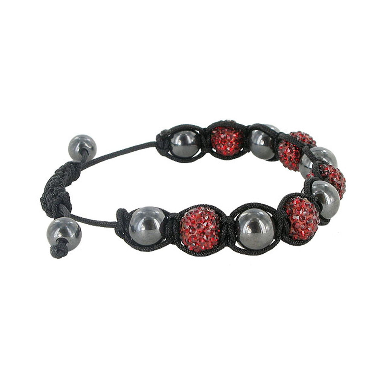 Red Crystal and Simulated Hematite Bracelet
