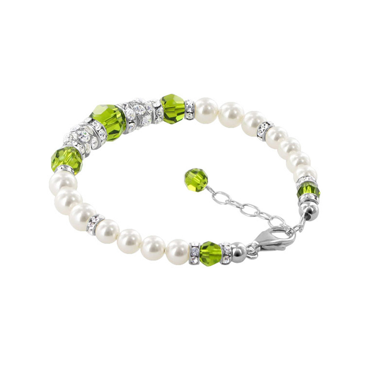Simulated Pearls With Green Crystal 925 Silver Bracelet
