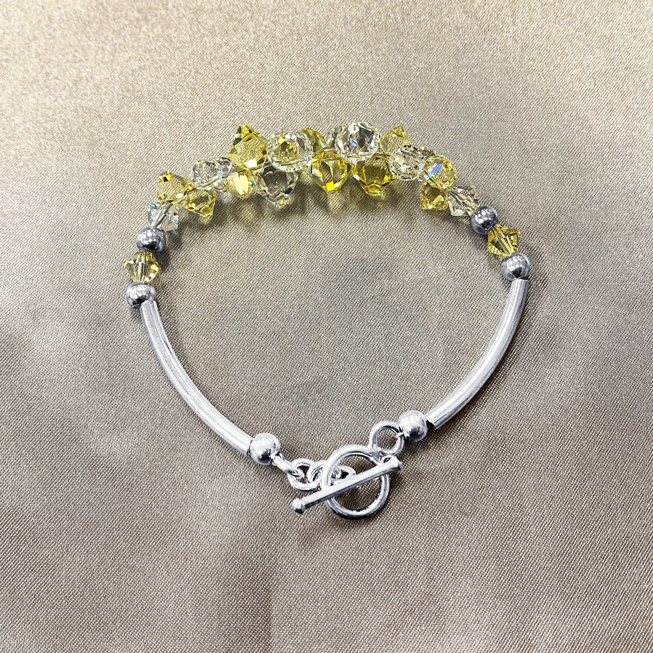 Yellow and Clear Crystal Sterling Silver Bracelet