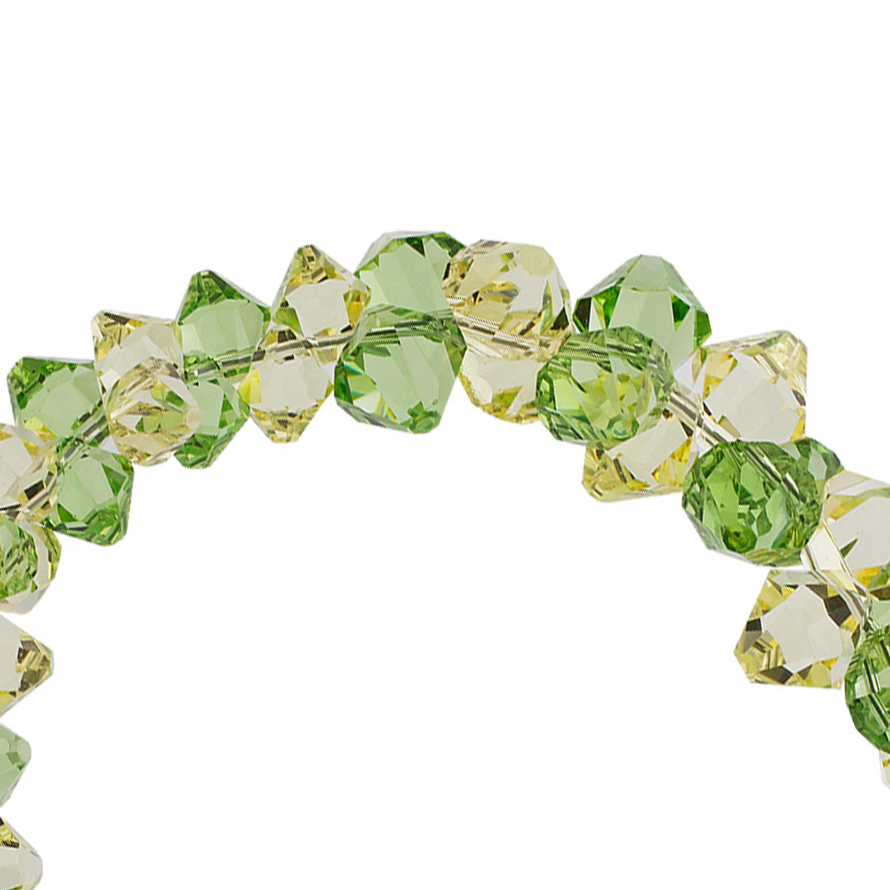 Cluster Style Swarovski Elements Green and Yellow Crystal 7.5 inch Bracelet