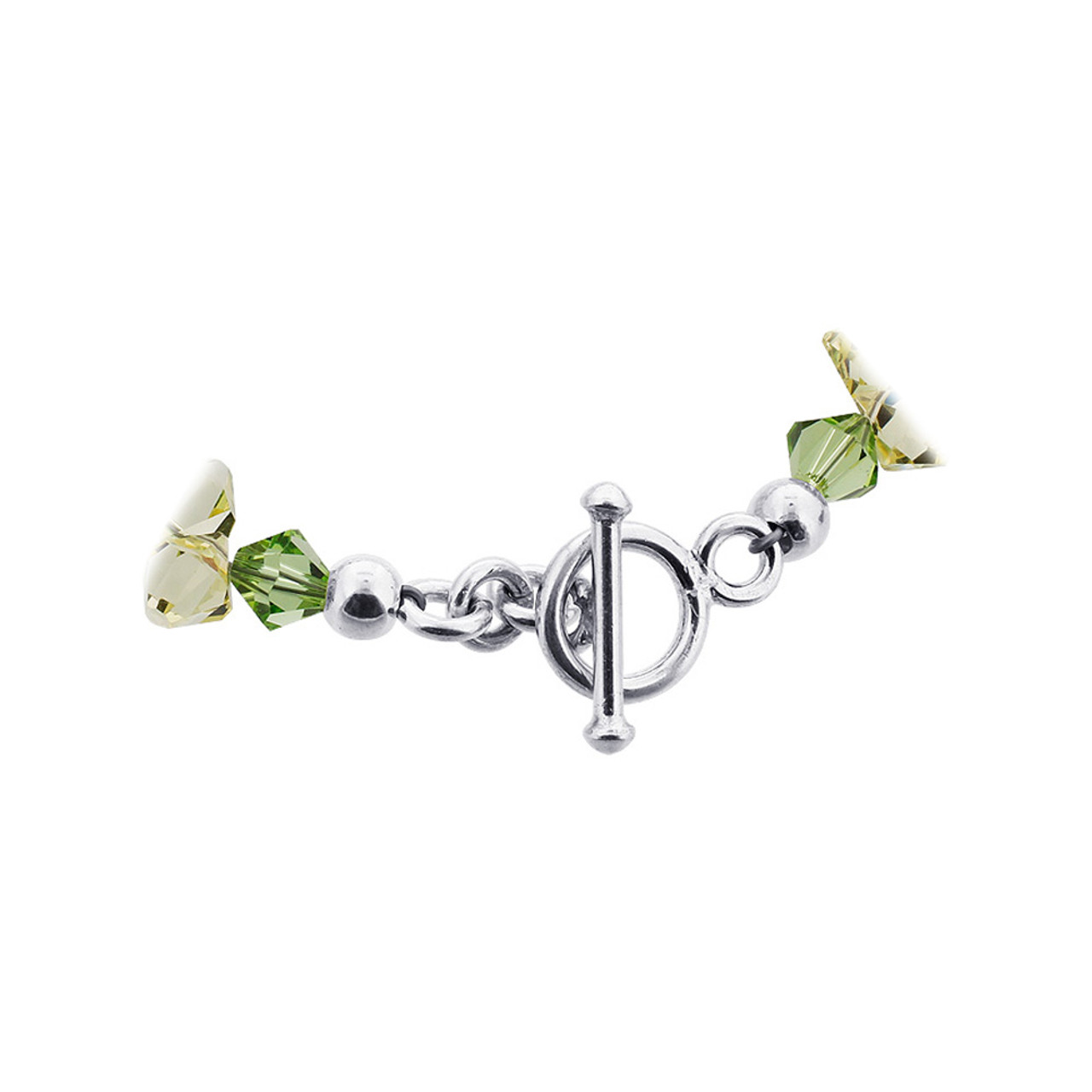 Green and Yellow Crystal Sterling Silver Bracelet