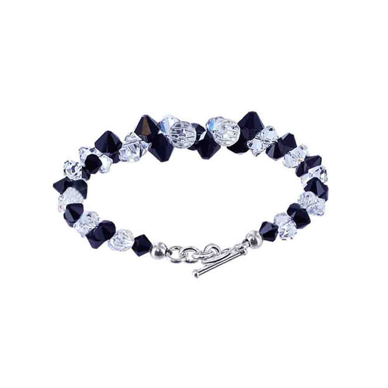 Cluster Style Swarovski Elements Black & Clear Crystal Bracelet