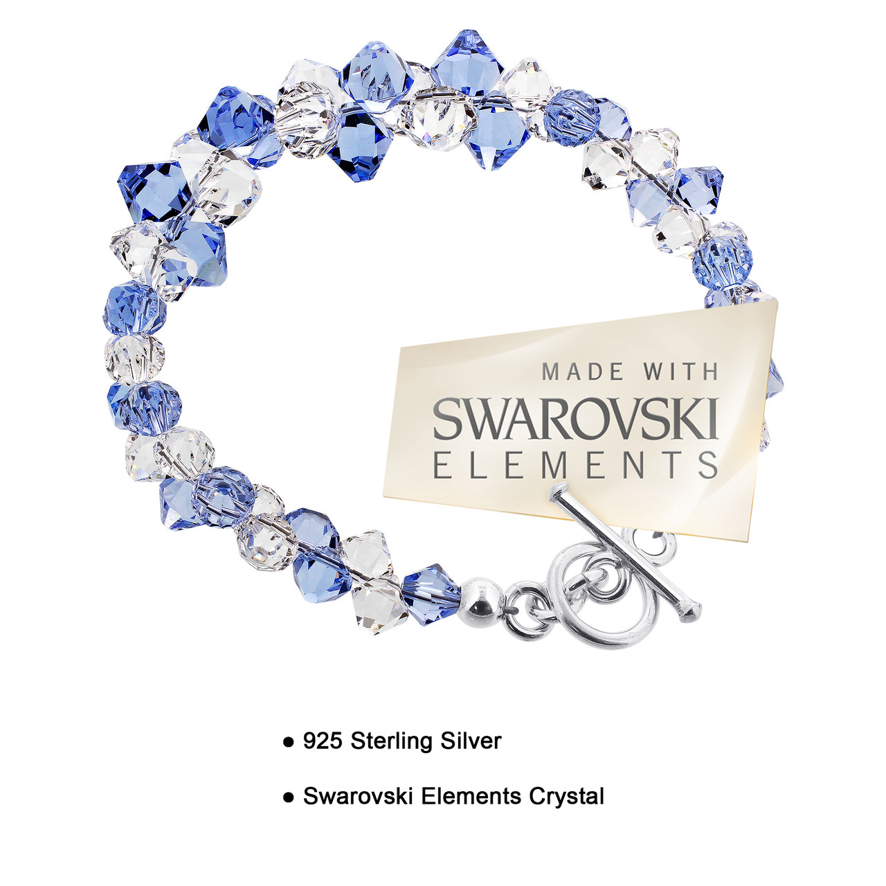 Cluster Style Swarovski Elements Blue & Clear Crystal 7.5 inch Bracelet