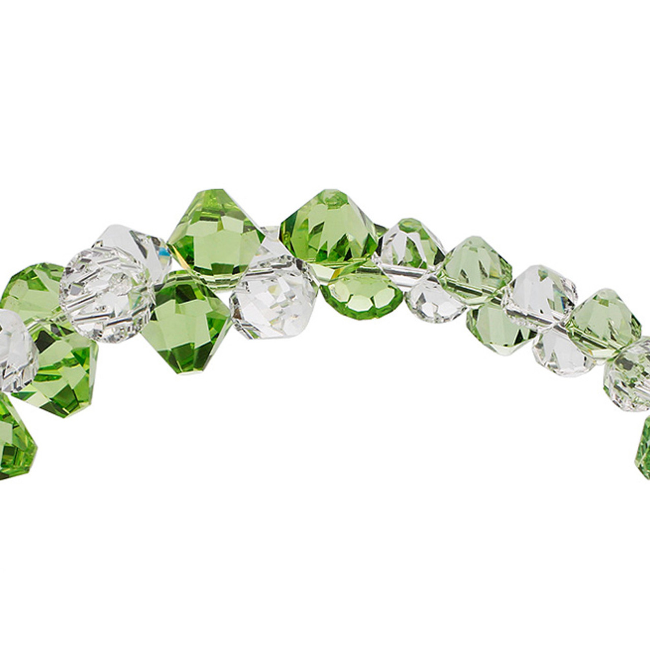 Green and Clear Crystal Sterling Silver Bracelet