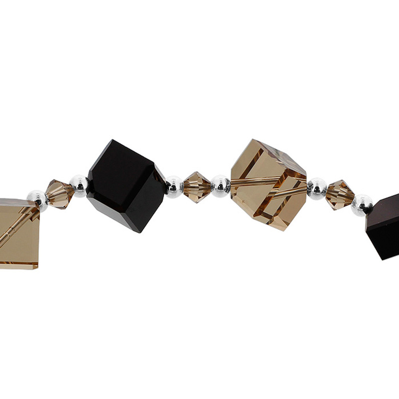Diagonal Cube Shaped Swarovski Elements Black & Brown Crystal 7 inch Bracelet