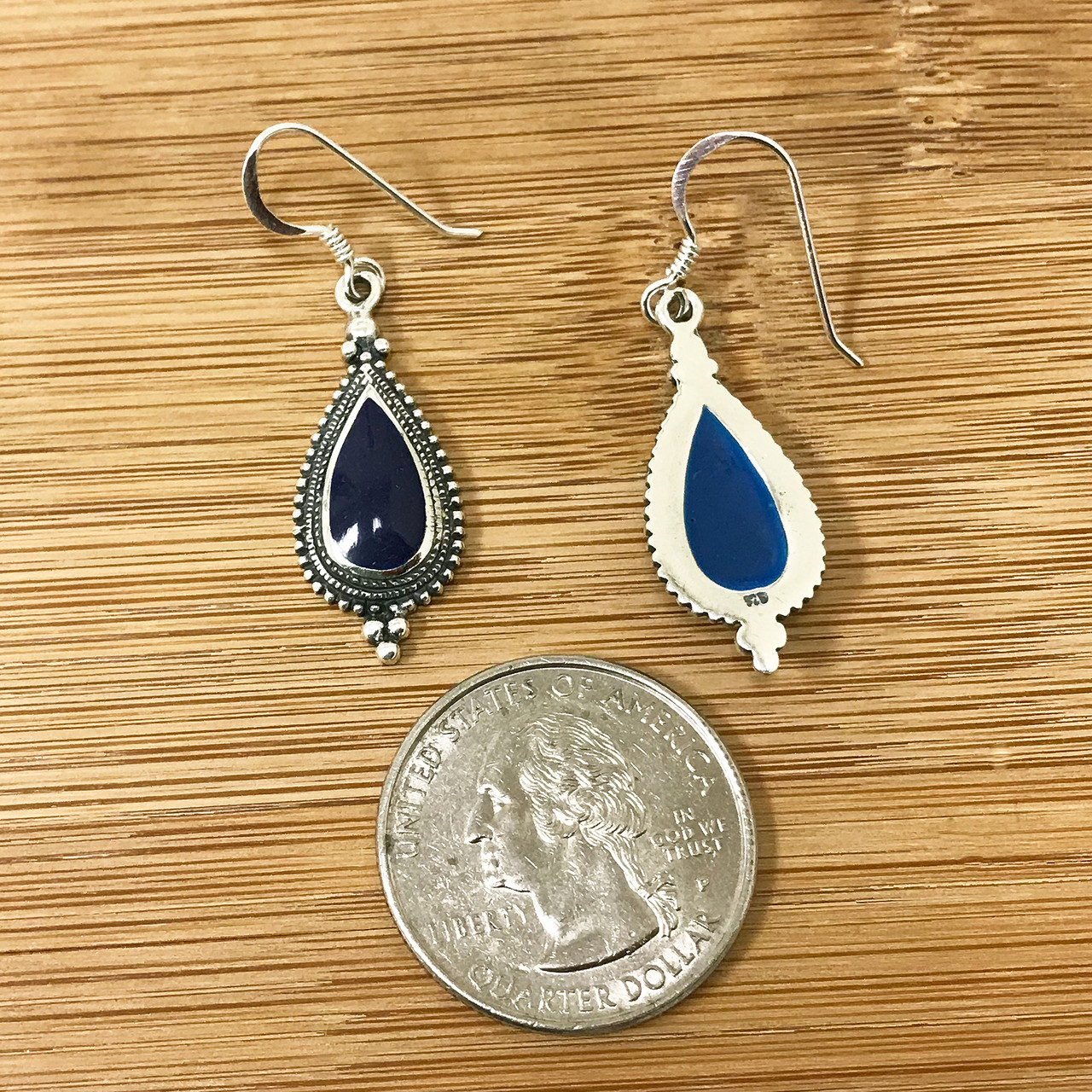 925 Sterling Silver Classic Bali Style Granulated Dangle Earrings With Synthetic Sodalite