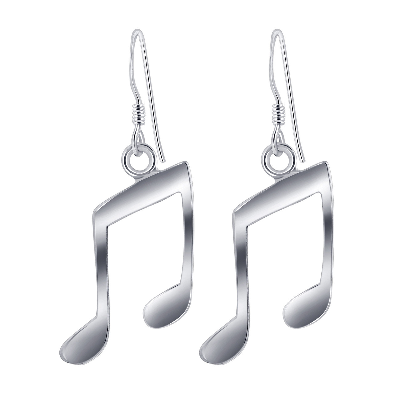 925 Sterling Silver Musical Note Drop Earrings