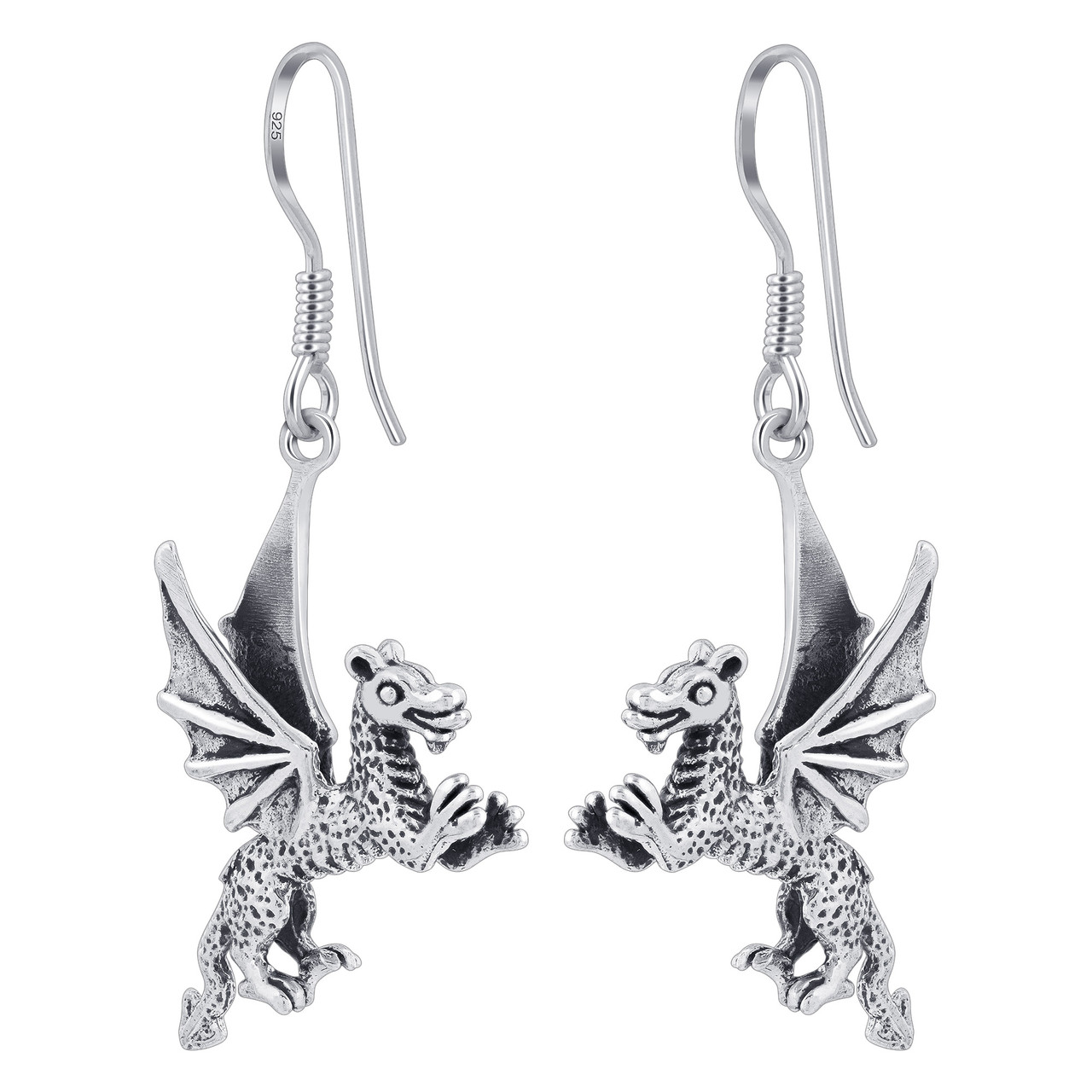 925 Sterling Silver Winged Dragon Dangle Earrings