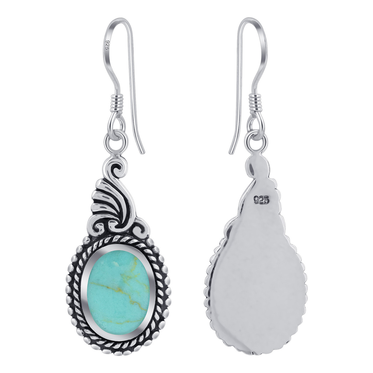 925 Sterling Silver Dangle Earrings with Synthetic Turquoise
