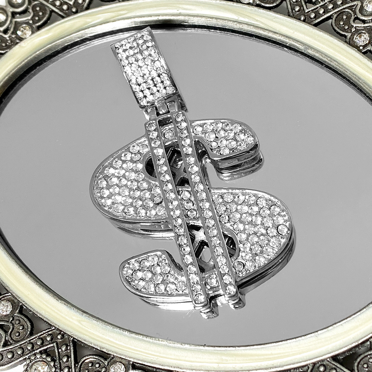 Stainless Steel Cubic Zirconia CZ $ Dollar Sign Pendant