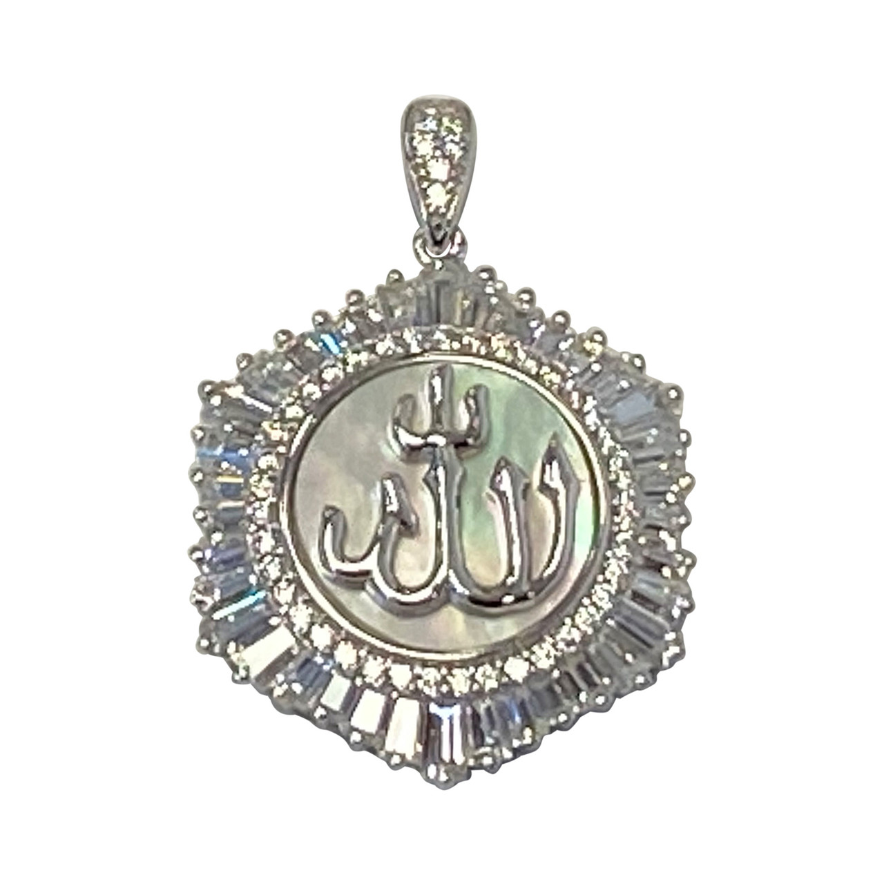 925 Sterling Silver Rhodium Plated Cubic Zirconia CZ and Mother of Pearl Allah pendant