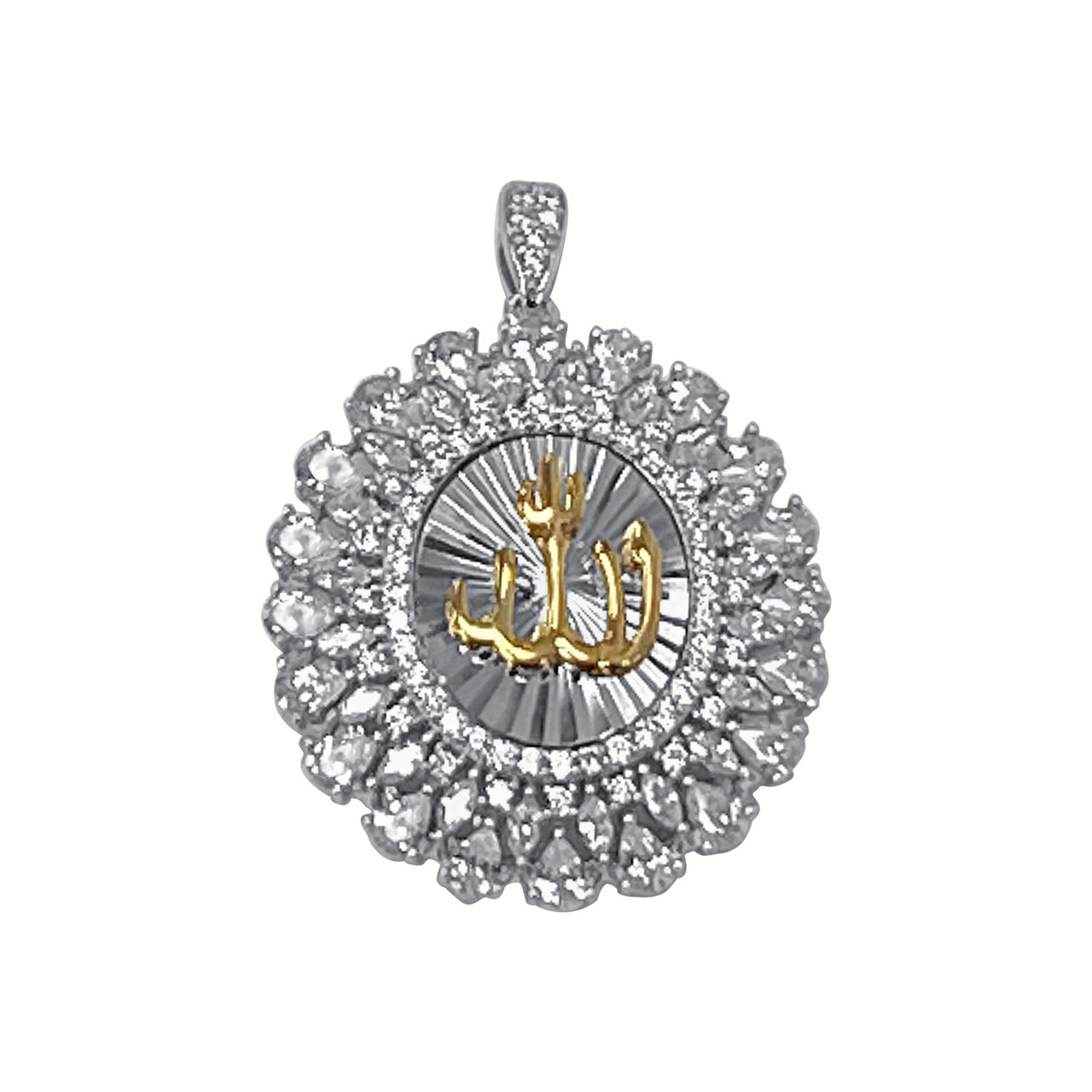 925 Sterling Silver Cubic Zirconia CZ Rhodium Plated Allah pendant