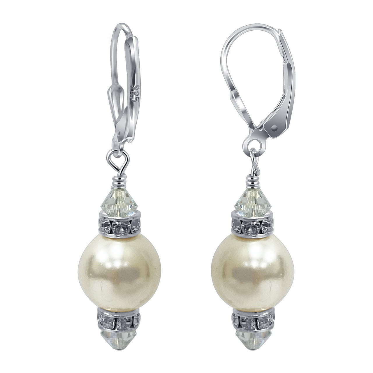 925 Sterling Silver 10mm Pearl Swarovski Elements Crystal Handmade Drop Earrings
