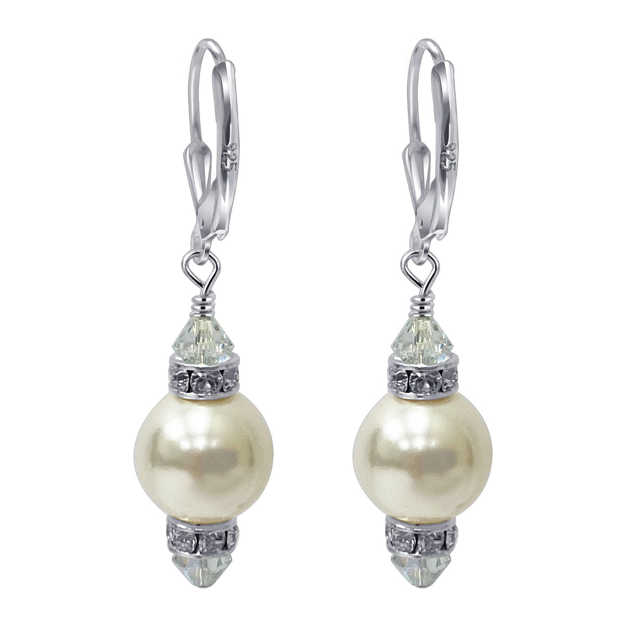 925 Sterling Silver 10mm Pearl Swarovski Elements Crystal Handmade Drop Earrings for Women