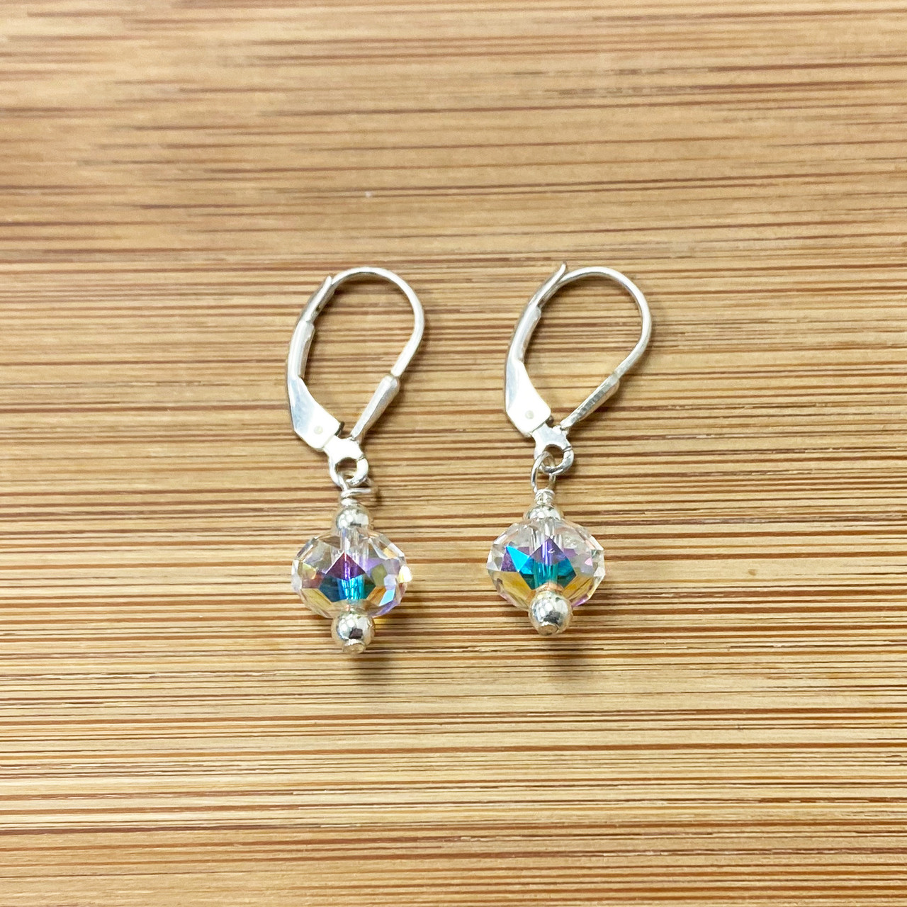 Swarovski Elements Clear Crystal Leverback Drop Earrings with 925 Sterling Silver