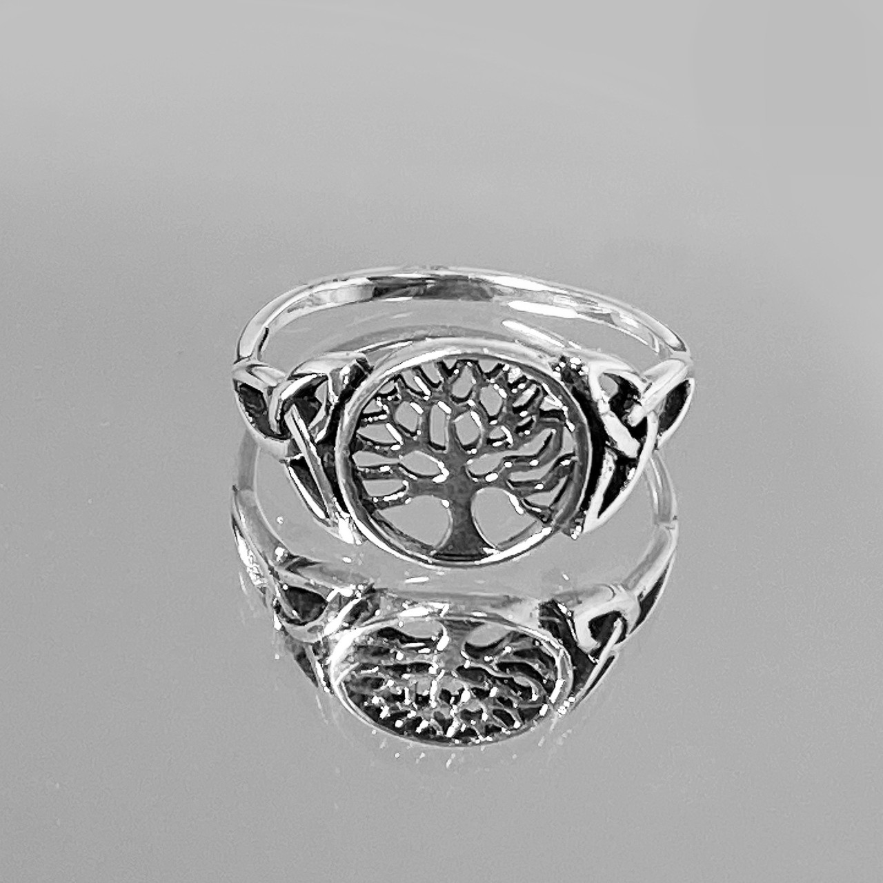 925 Silver Tree Of Life Ring With Side Triquetras