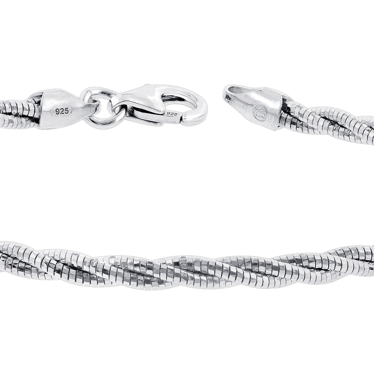 Sterling Silver Twisted Rope Chain 7.5 Inch Bracelet