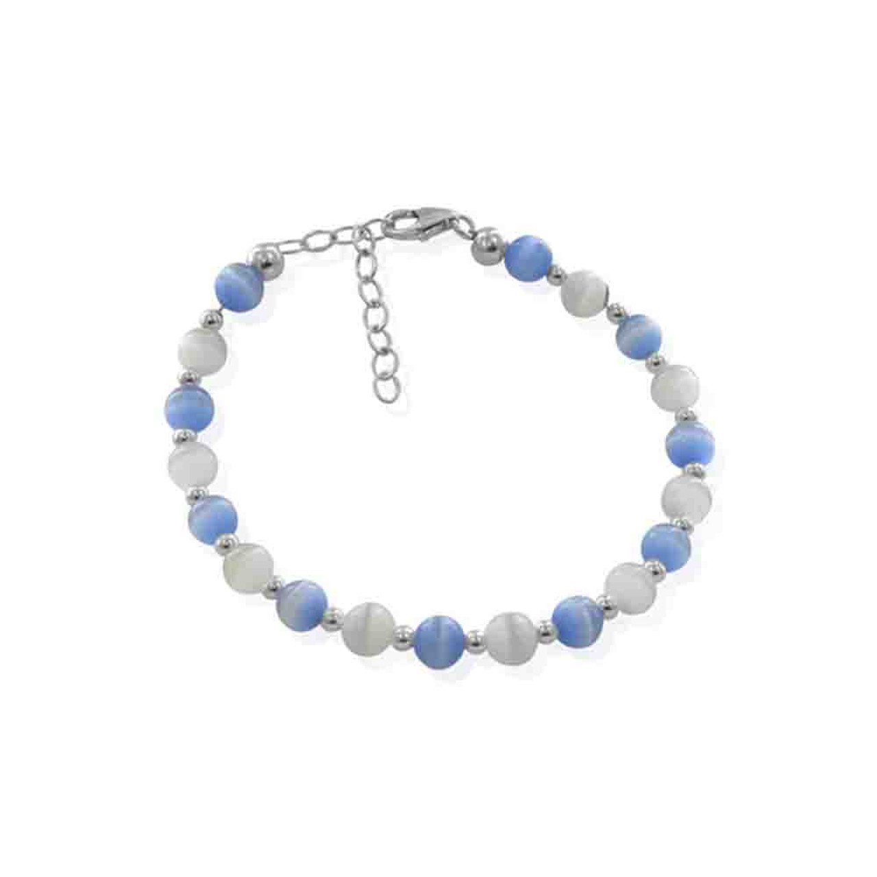 Blue and White Cats Eye 925 Silver Bracelet