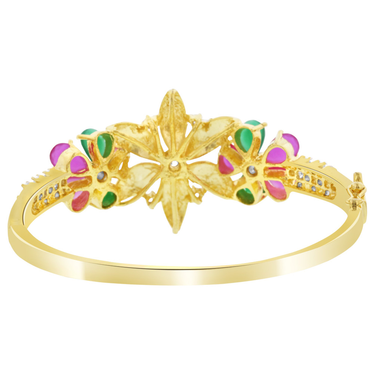 Ruby Glass and Emerald Cubic Zirconia Gold Plated Bangle Bracelet