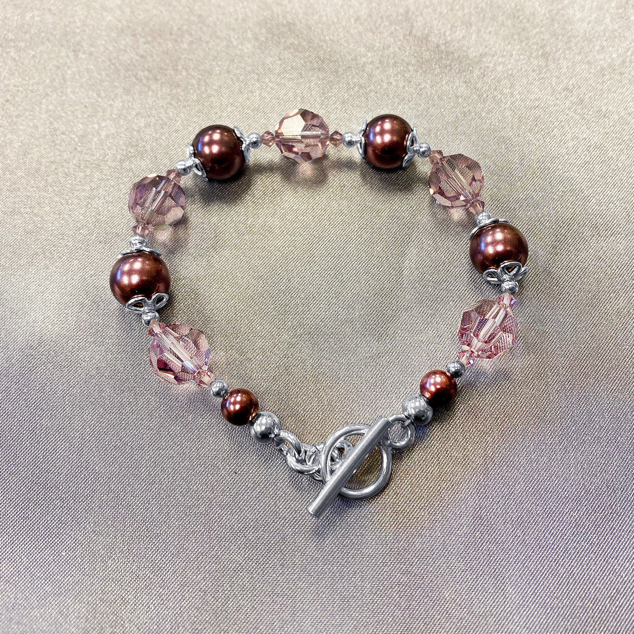 Brown Crystal and Faux Pearl 925 Silver Bracelet