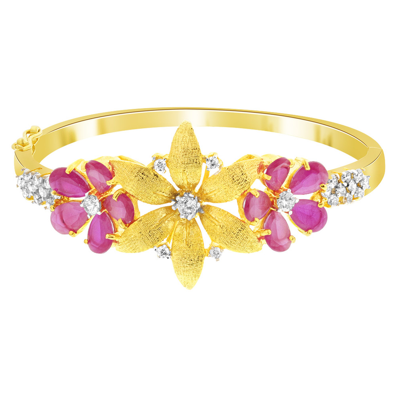 Flower Shape Cubic Zirconia Ruby Glass Gold Plated Bangle Bracelet