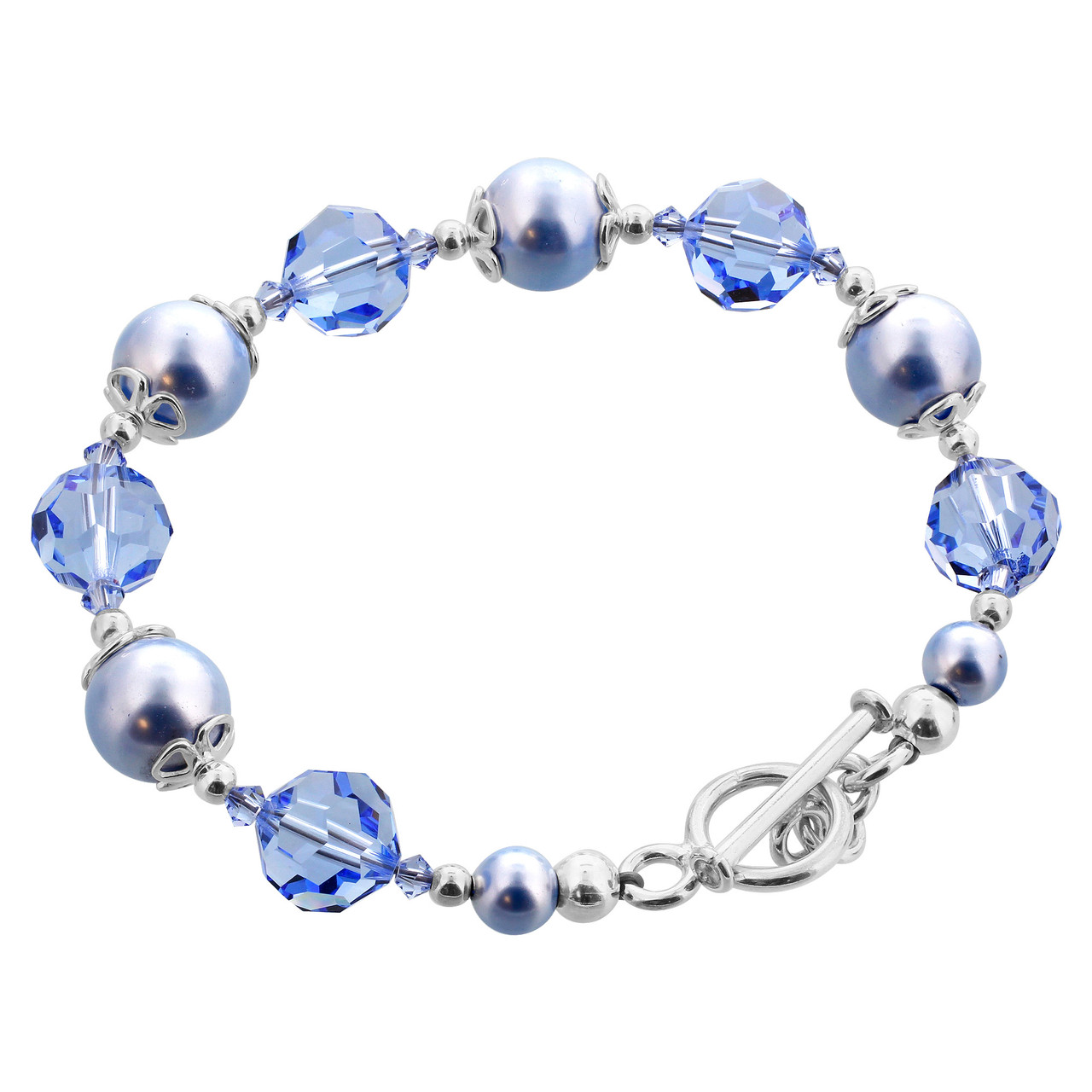 Blue Crystal and Faux Pearl 925 Silver Bracelet