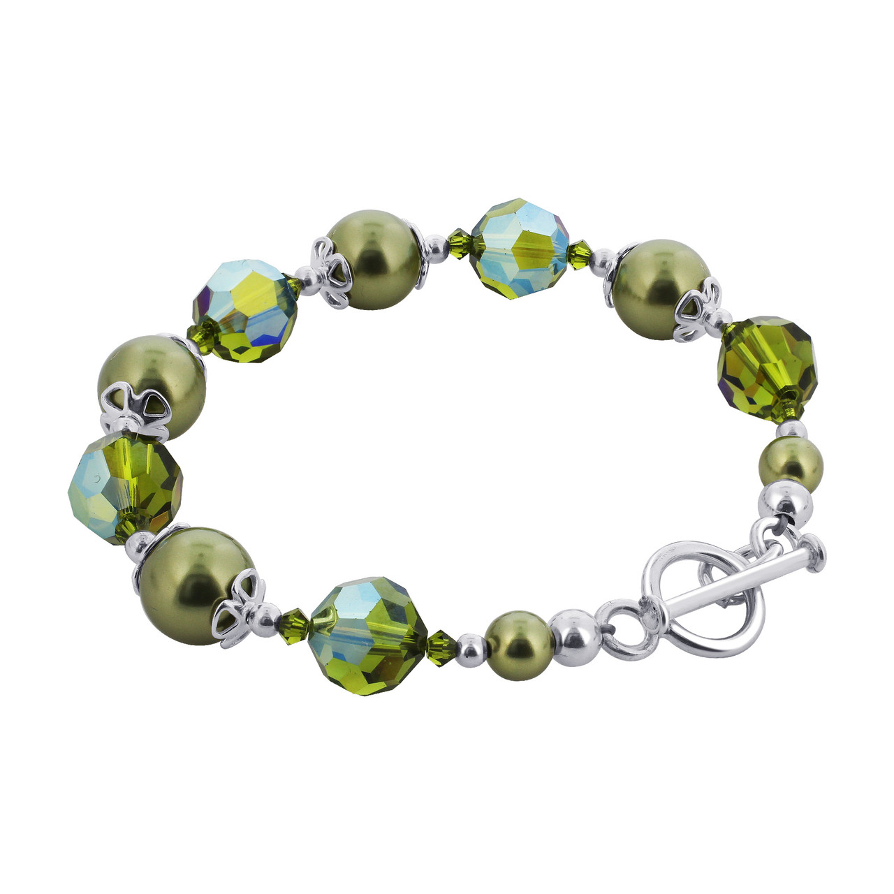 Crystal with Faux Pearl 7.5 inch 925 Silver Bracelet