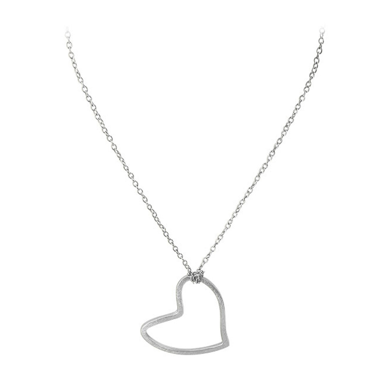 Silver Plated Heart Shape Pendant Adjustable Necklace