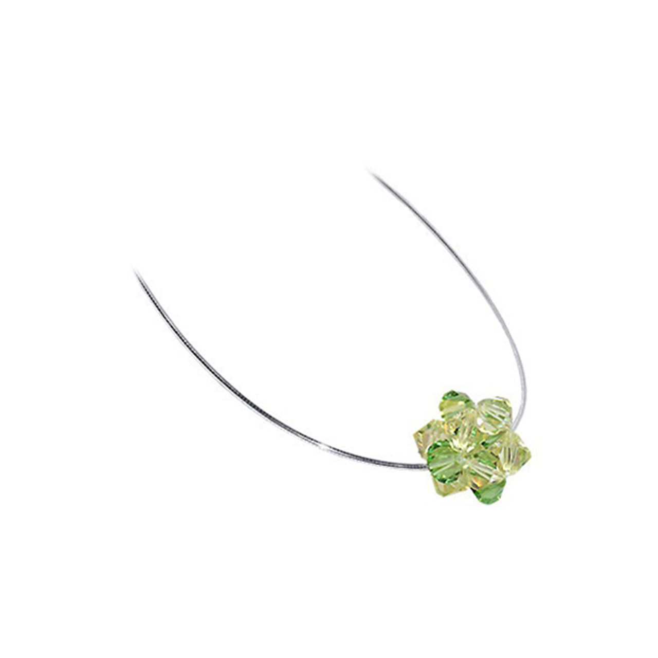 Green Crystal 925 Silver Omega Chain Necklace