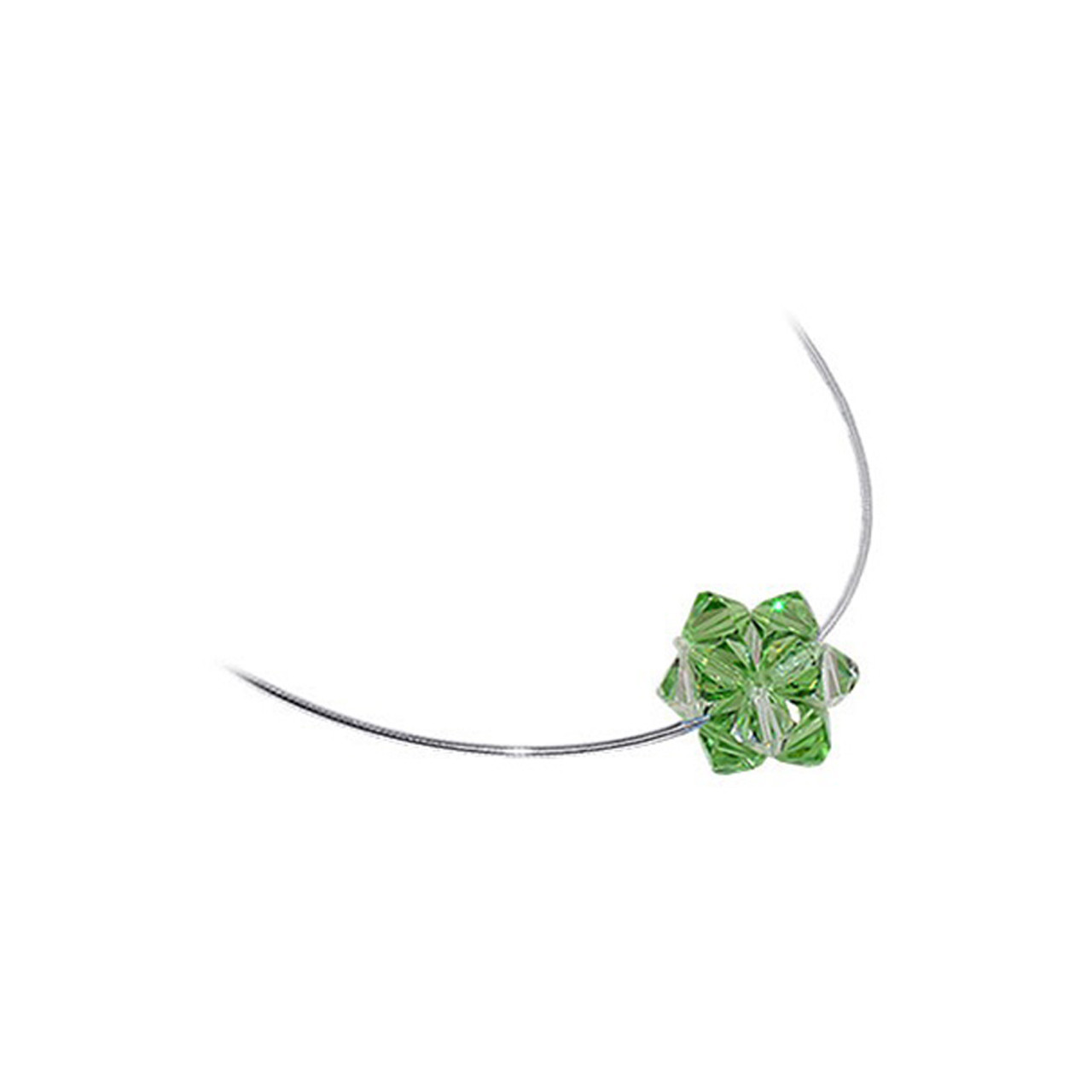 Green and Clear Crystal 925 Silver Omega Chain Necklace