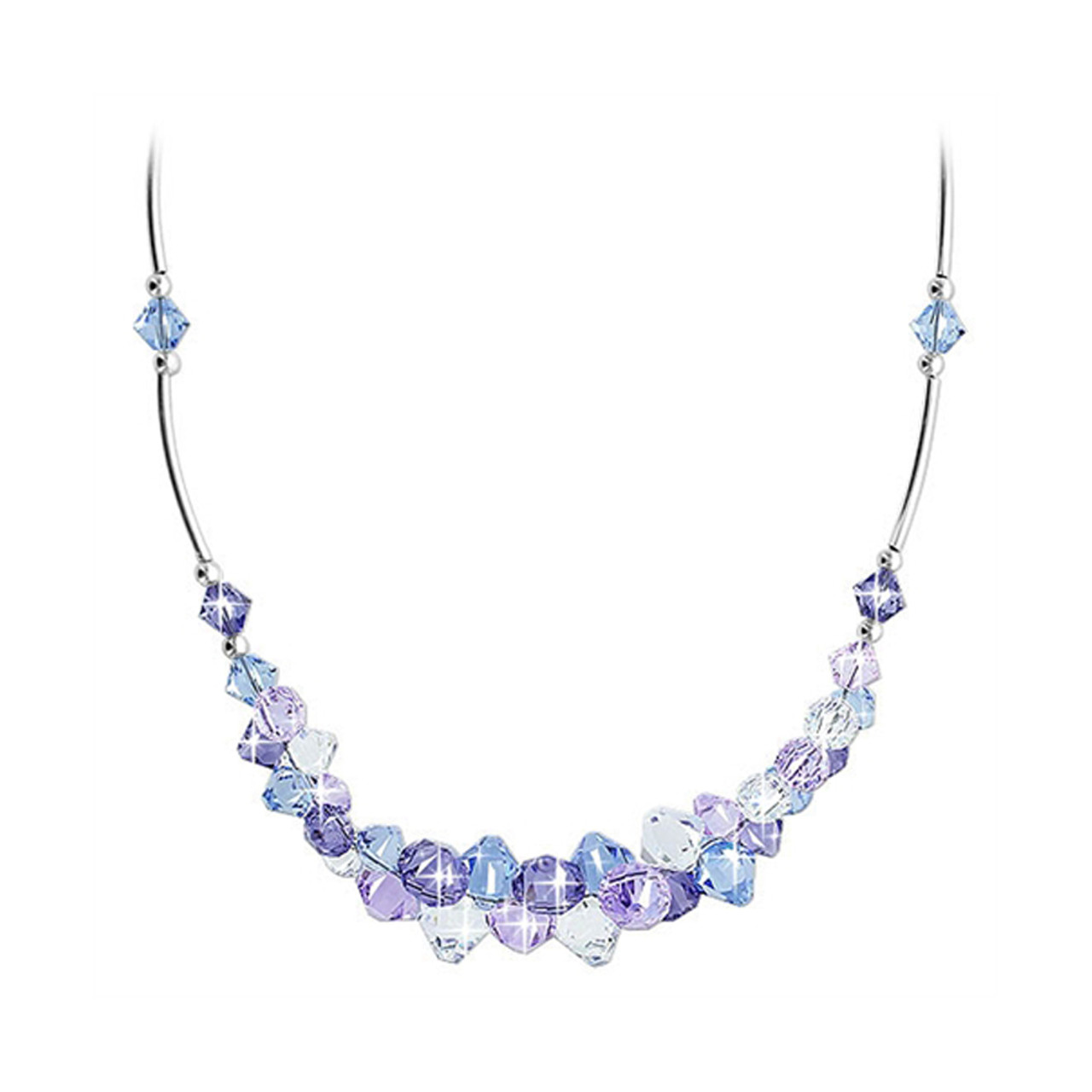 Multi Crystal Sterling Silver Necklace
