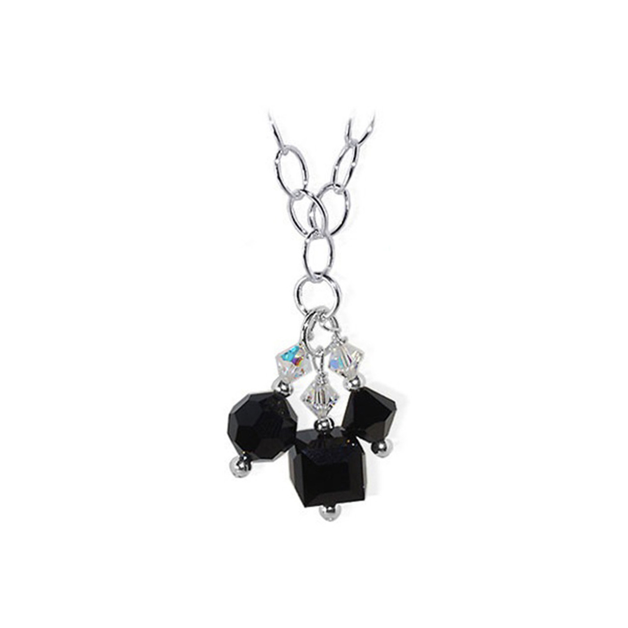Black Crystal Sterling Silver Chain Necklace