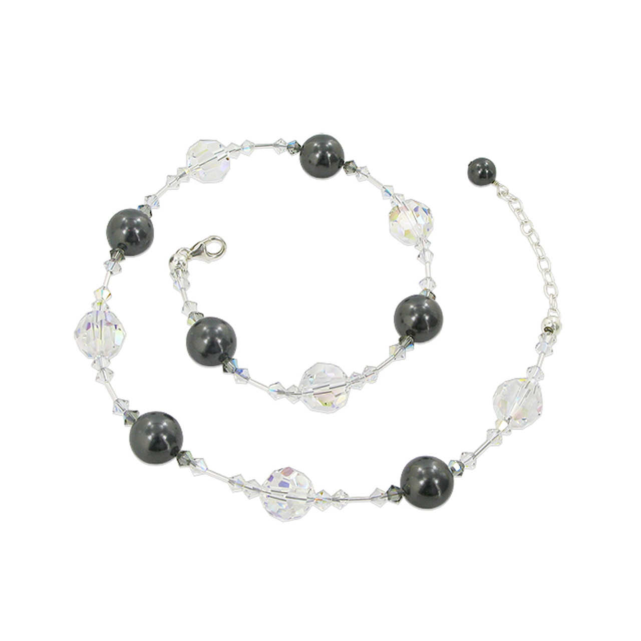 Black Simulated Pearl 925 Silver Crystal Necklace