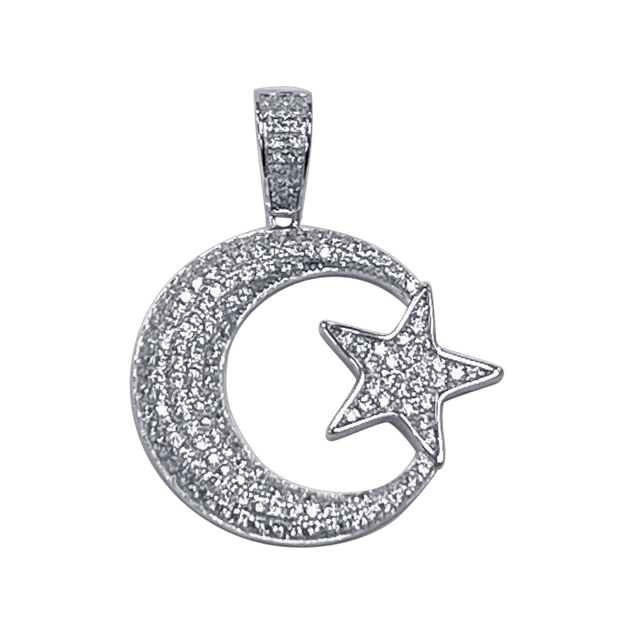 925 Sterling Silver Cubic Zirconia CZ Moon And Star Pendant