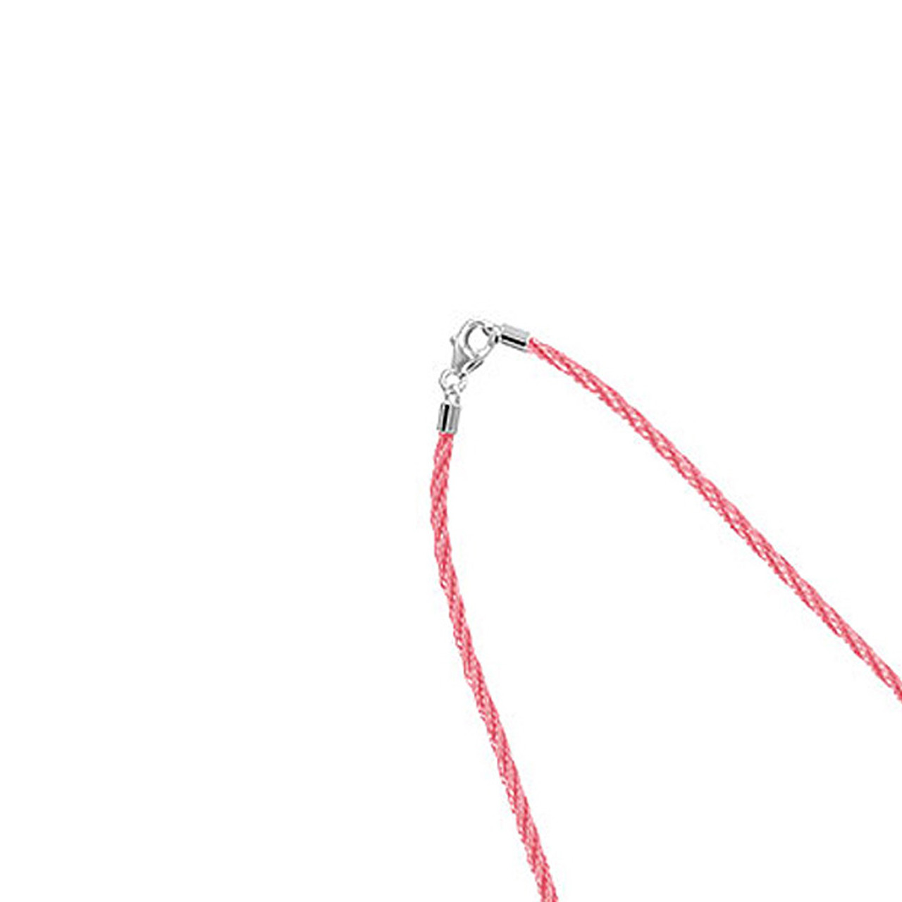 Thick Silky Pink Satin Cord 925 Sterling Silver Necklace