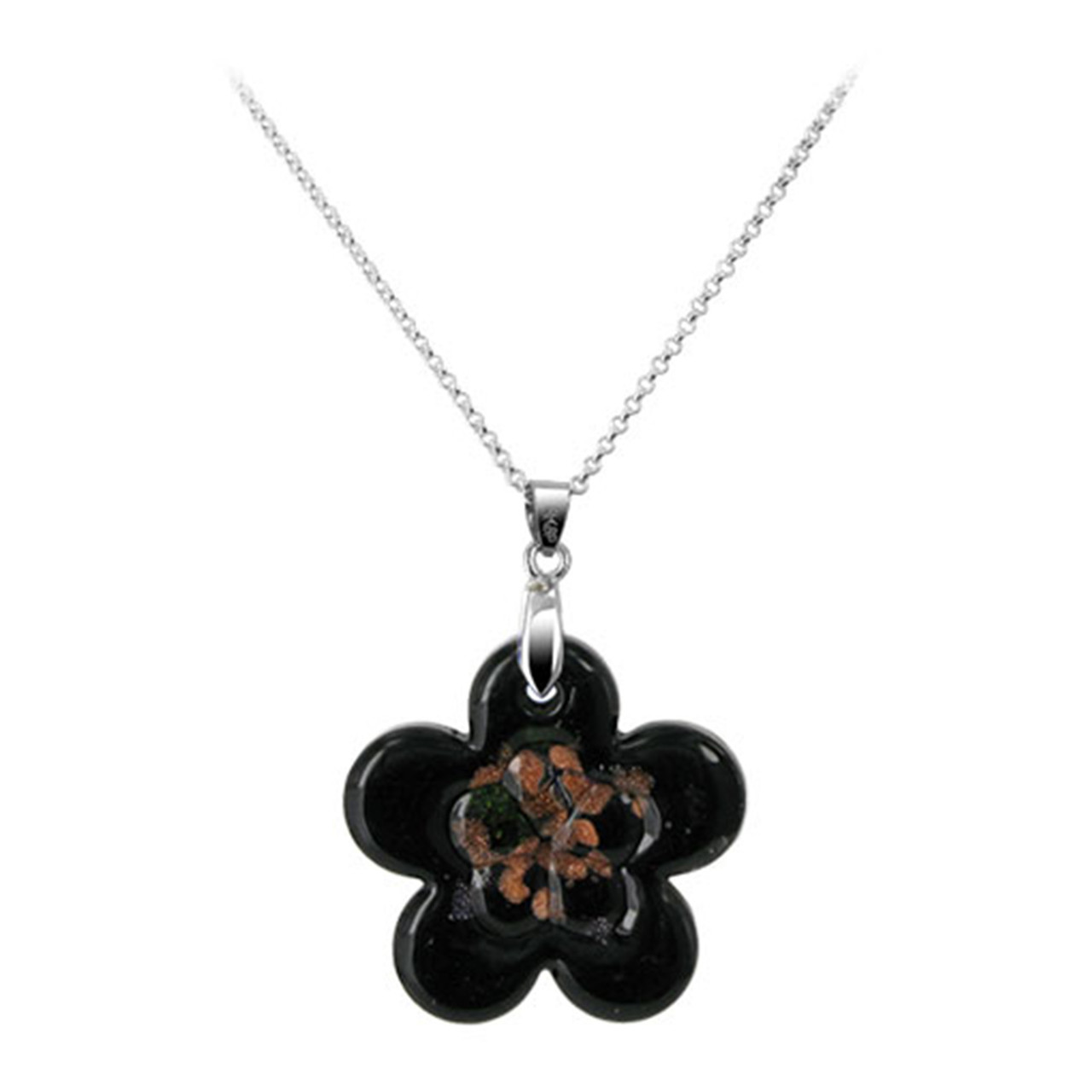 Flower Black Color Thick Glass Stainless Steel Bail Pendant